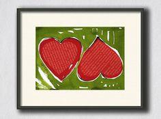 Original Two Hearts Collage  Heart Painting Watercolor Ink  Painting  Handmade by Evartstudio