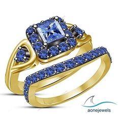 14K Yellow Gold FN Halo Prong Sett Women's Wedding Bridal Ring Set  925 Silver #aonejewels