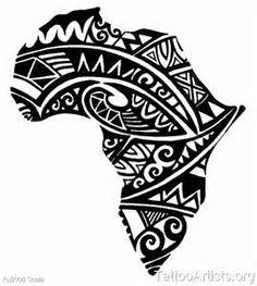 Nice variation of tribal-styled African continent tattoo (african tattoo… African Tribal Tattoos, Tattoo Tribal, Tribal Tattoos For Women, Tribal Tattoo Designs, Tattoos For Guys, Map Tattoos, Body Art Tattoos, Sleeve Tattoos, Tatoos