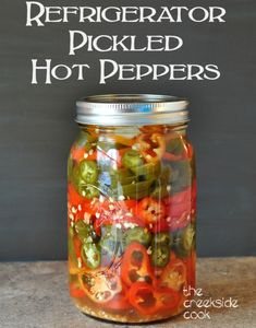 Refrigerator Pickled Hot Peppers - Refrigerator - Trending Refrigerator for sales. - These are so easy and much better than what you can buy in the store: Refrigerator Pickled Hot Peppers The Creekside Cook Chutney, Pickled Hot Peppers, Pickling Hot Peppers Recipe, Pickled Eggs, Hot Pepper Recipes, Refrigerator Pickles, Homemade Pickles, Fermented Foods, Sauces