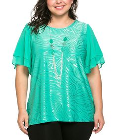 This Essential Collection Mint Green Zebra Stripe Scoop Neck Top & Necklace - Plus by Essential Collection is perfect! #zulilyfinds