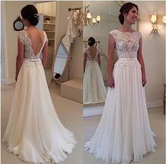 Long White dress with lace patchwork,and the backless show your beautiful bake…