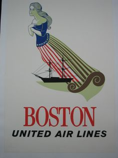 b49ab8f5eb United Airlines Boston Vintage Poster England Travel Poster