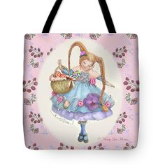 """This new tote bag is on the website Fine Art America. In durable poly-poplin, it comes in three sizes. Washable in cold water, it has the art image printed on both sides. Art © Nancy Lee Moran, """"Karli Star With Butterflies And Raspberries In Pink"""" shows a girl with a smile of sweetness. #braids #butterflies #cute #dainty #mushrooms #pink #purple #raspberries #redhead #whimsy #tote #FineArtAmerica #NancyLeeMoran"""