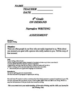 5th and 6th grade On Demand Writing Assessments prepared for 3 genres of writing.  Utilize as pre and post assessments for each of the Writing Units.  Modify the prompt to meet the needs of your students.