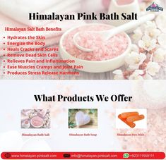 Our Himalayan salt bath is trusted source and high quality genuine product for cleansing and rich in essential skin minerals which not only soother and softer the skin but the minerals contain in it detoxify and relax your body. For order Contact us: (+92) 311-1559111 Email: info@himalayan-pinksalt.com #himalayan_salt_wall #himalayan_salt_usblamp_exporter #himalayan_salt_manufacturer #himalayan_salt_exporter #himalayan_pinksalt_exporter #himalayanpinksalt #Himalayanediblesalt Bath Soap, Bath Salts, Salt Bath Benefits, Himalayan Salt Bath, Clay Supplies, Stress And Depression, Natural Salt, Layers Of Skin, Spa Treatments