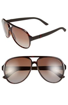 ccdae623043 Gucci  1065S  59mm Polarized Aviator Sunglasses available at  Nordstrom Polarized  Aviator Sunglasses