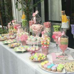 Candy Buffet Tables, Dessert Buffet, Candy Table, Dessert Bars, Dessert Tables, 21st Decorations, Birthday Party Decorations, Baby Shower Decorations, Baby Shower Flowers