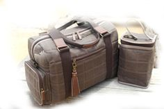 Duffle Diaper Bag, Quilted Waxed Canvas, Genuine Leather, Water Proof Lining, Brown/taupe