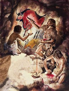 Artist's Painting in Lascaux Cave by Peter Jackson White Hollow