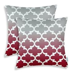 Pack of 2 CaliTime Throw Pillow Covers 18 X 18 Inches, Gradient Quatrefoil Accent Geometric, Gray/Burgundy Get some bold decorating home décor ideas by using bold red accent pillows. You can use red solid throw pillows in combination with red patterned throw pillows. For example, vertical, chevron and horizontal stripes compliment a solid plush red accent pillow. Consider using these pillows in your bedroom, living rooms and other spaces with couches, beds, benches and chairs.