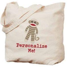 Cafepress Personalized Classic Sock Monkey Tote Bag, Women's, Multicolor