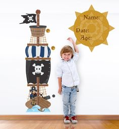 Personalised Pirate Ship Height Charts For Kids | Hippo Blue