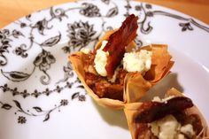 Walnut Date Cups with Blue Cheese and Candied Bacon
