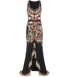 Roberto Cavalli - Printed dress - The Cavalli girl, with her penchant for flamboyance, will be pleased this season – the designer has combined the brand's signature emphasis on intricate prints with fluid movement for truly knockout silhouettes. This floor-length dress, with its embroidery-inspired print, velvet trim and draping, slit skirt is set to be a fan favourite. seen @ www.mytheresa.com