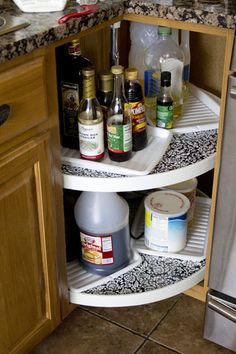 A video on how to organize blind corner cabinets with a half lazy susan organizing - How to organize a lazy susan cabinet ...