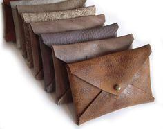 Business Card Leather Holder / Envelope Card Case/ by TahelSadot
