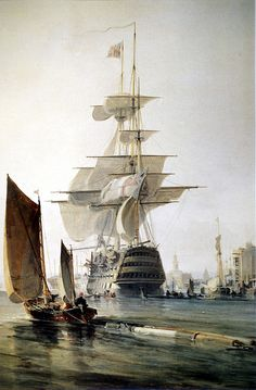 """HMS 'Britannia'  entering Portsmouth Harbour"", by G.H.Chambers. HMS 'Britannia' was a 120-gun first-rate ship-of-the-line  laid down in 1813 and launched on 20 October 1820.Commissioned in 1823, served as flagship of Admiral Sir James Deans Dundas. Became a hospital ship at Portsmouth, then a cadet training ship in 1859, eventually moving to Dartmouth in 1863. She was finally sold for breaking up in 1869."