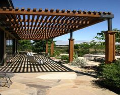 Amazing Modern Pergola Patio Ideas for Minimalist House. Many good homes of classical, modern, and minimalist designs add a modern pergola patio or canopy to beautify the home. In addition to the installa. Pergola Attached To House, Pergola With Roof, Outdoor Pergola, Backyard Pergola, Patio Roof, Pergola Lighting, Cheap Pergola, Wood Pergola Kits, Timber Pergola