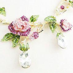 Rose-Flower-Dangle-Drop-Necklace-Earrings-Set-Pink-Austrian-Crystal-Gold-Tone