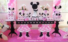 FESTA ELEGANTE DECORAÇÃO PARA FESTAS INFANTIS: Decoração Minnie Rosa para Lívia