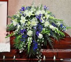 Image result for casket flowers blue and white