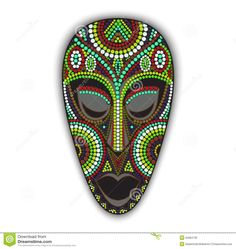 Illustration about Vector colorful ethnic african mask. Illustration of mask, head, avatar - 52084736 African Logo, African Art, Exotic Art, Masks Art, Mask Tattoo, African Masks, Pointillism, Illustrations, Porcelain Jewelry