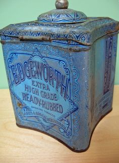 Old Edgeworth tobacco tin. Typography, color, packaging.  Wonderful shape with that tiny round lid.
