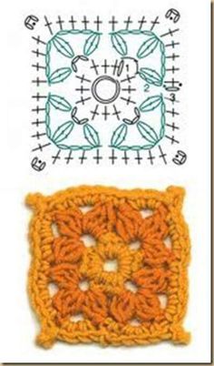 Granny square, chart with example