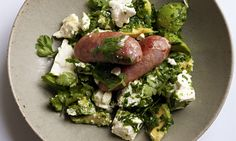 Nigel Slater's sausages with avocado and feta recipe | Life and style | The Guardian