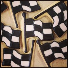 Race, checkered flag cookies