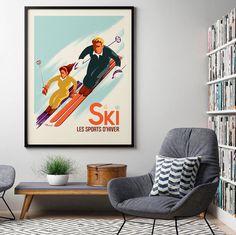 """€25 . Affiche Illustration Originale CLASSIC WINTER """" SKI - Les Skieurs """" . Papier 350g/m² Couché Mat"""