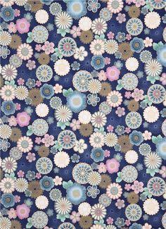 blauer Satsuki 3 Seerosen Blumen Asia Stoff Robert Kaufman 2