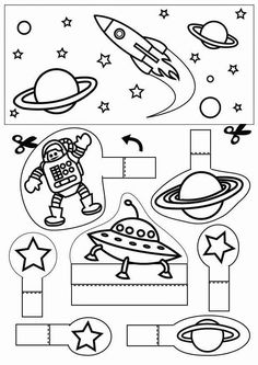 space - Coloring pages and crafts Space Preschool, Space Activities, Science Activities, Space Planets, Space And Astronomy, Space Party, Space Theme, Astronomy Crafts, Astronomy Stars