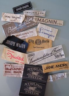 Vintage Labels Vintage Fashion Labels from a San Francisco collection, all from - Fashion. Tag Design, Label Design, Design Packaging, Brand Design, Package Design, Graphic Design, Typography Love, Lettering, Vintage Outfits