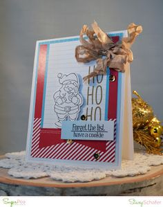 Card created by Stacey Schafer for SugarPea Designs. Here Comes Santa Claus and coordinating SugarCut Die.  Paper: Happy Holidays