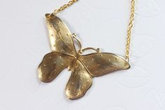 A Gold Butterfly Necklace Vintage Butterfly Necklace by madebymoe, $28.00
