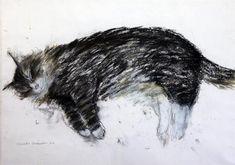 § Dame Elizabeth Blackadder (1931-)pastel,Sleeping cat,signed,16 x 23in.