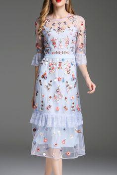 ZYYM Embroidered See Through Midi Dress