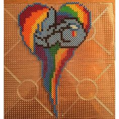 MLP Rainbow Dash heart hama beads by jawsan