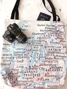 Traverse City Map Tote - Traverse City Map Bag - Traverse City Tote Bag - Traverse City Bag - Traver