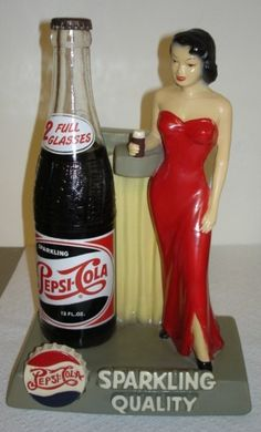 RARE 1940s Pepsi Cola Advertising Bottle Lady Soda Fountain Store Display | eBay