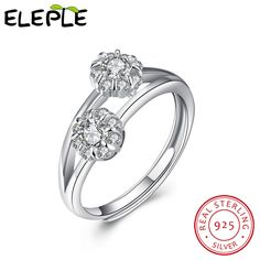 >> Click to Buy << Free Stamped Name 925 Sterling Silver Jewelry Rings double flowers sterling-silver-jewelry resizable Ring for women LSVR054 #Affiliate