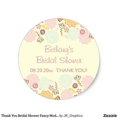 Thank You Bridal Shower Fancy Modern Floral Classic Round Sticker.  Beautiful multicolor pastel flowers.  Personalized stickers are perfect for your bridal shower favors.