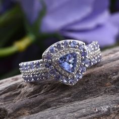 Tanzanite (Trl), White Topaz Ring in Platinum Overlay Sterling Silver Nickel Free (Size 5.0) TGW 1.980 cts.