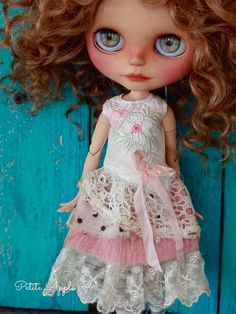 """Blythe doll outfit """"Romantic memories"""" grunge chic vintage dress - pure silk"""