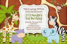 Jungle Zoo Safari Birthday Invitation or by graciegirldesigns77