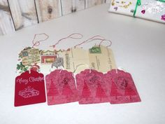 Butterflies In The Attic: 8 Christmas Gift Tags - Miniature Postcards and Hand Stamped - Gift Wrap REFNO.11.13.12