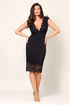 Jessica Wright Black Ellee V-neck Lace Midi Bodycon Dress