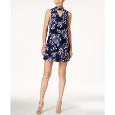 Ivanka Trump Floral-Print Mock-Neck Choker Dress (1 715 ZAR) ❤ liked on Polyvore featuring dresses, white day dress, floral dresses, short white dresses, floral print dress and mock neck dress